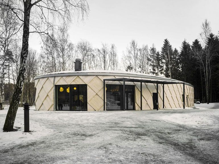 Adventurous Wellness-Focused Buildings Take Shape   Firm: Tengbom. Project: Kotten Nature Trail Center. Location: Kungälv, Sweden #design #projects #wellness #interiordesign #interiordesignmagazine