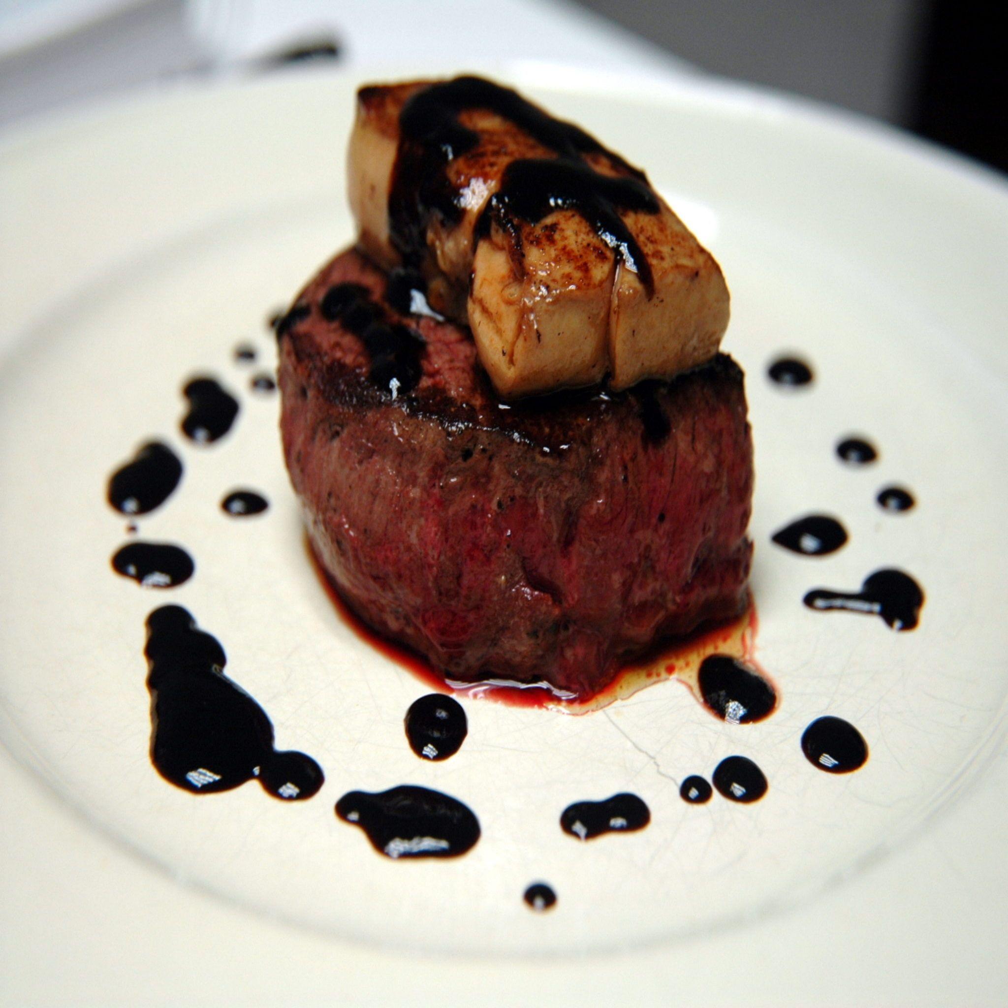 Filet Mignon With Seared Foie Gras And Blueberry Sauce Chloe Polemis Blueberry Sauce Filet Mignon Sauce Filet Mignon
