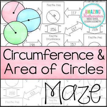 Area And Circumference Of Circles Maze Worksheet Middle School