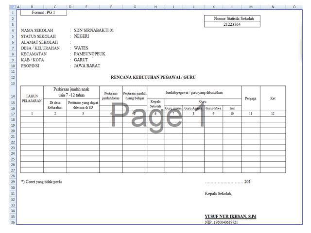 Xls Format Excel Aplikasi Administrasi Guru Dan Kepala Sekolah Tentang Data Kepegawaian Berbagi File Guru Kepala Sekolah Sekolah Guru