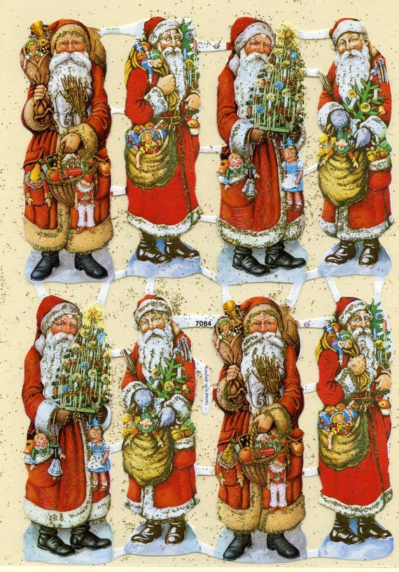 GOLD GLITTERED SCRAP Reliefs Santa 3 by OneDayLongAgo on Etsy