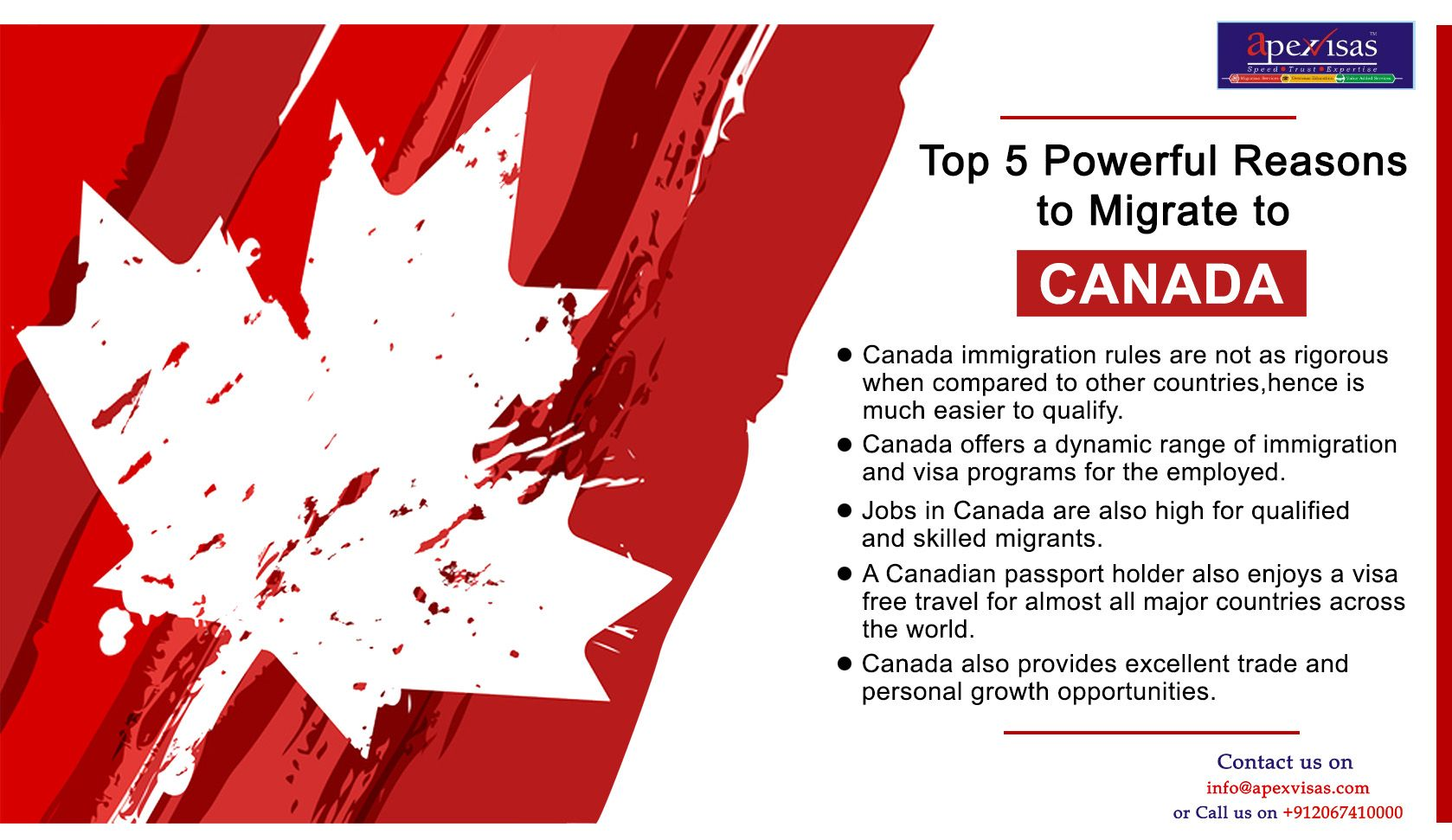 Top 5 Powerful Reasons to Migrate to CANADA. Apexvisas
