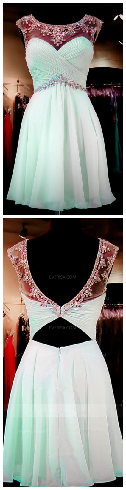 Sleeveless Backless Chiffon Homecoming Dresses Affordable Cocktail Dresses