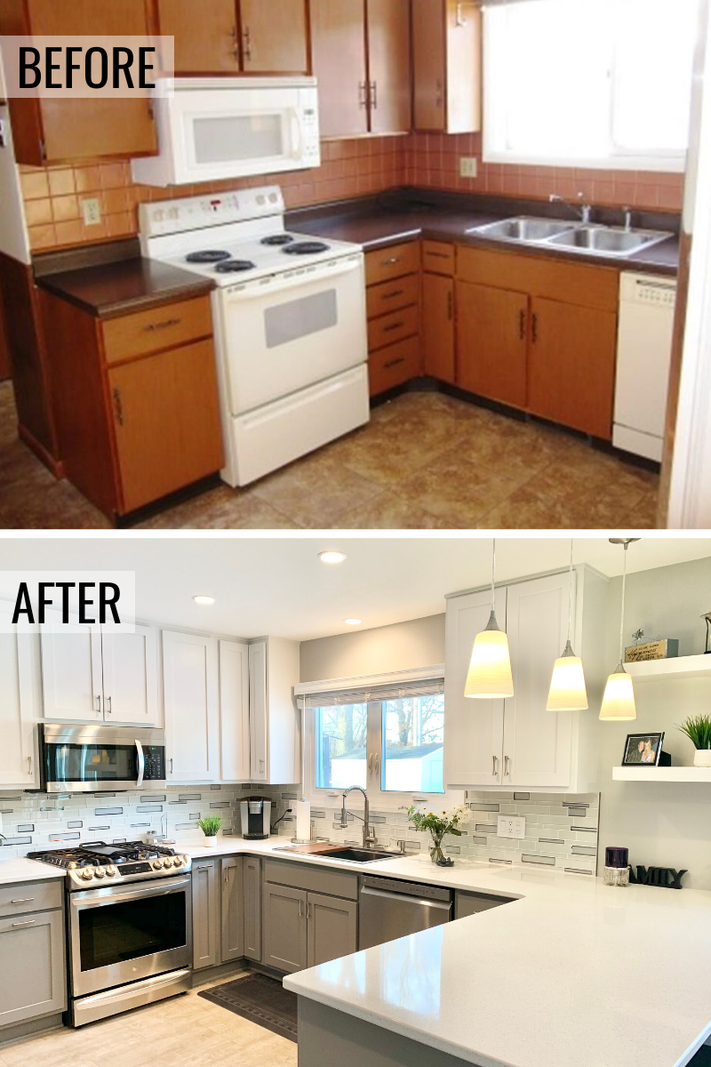 Kitchen Before And After In 2020 Budget Kitchen Remodel Kitchen Remodel Small Gray And White Kitchen