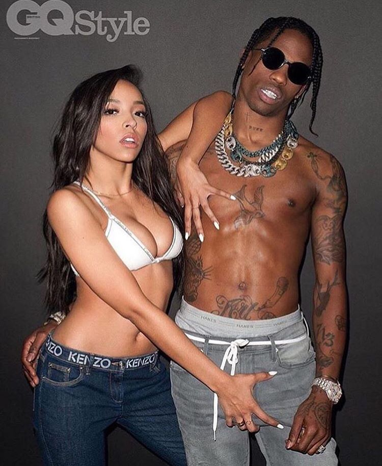 """96730676448c ... outta Trump's book, Tinashe grabs hold of Travis Scott in a new photo  for British GQ, shot by Terry Richardson. To coincide with her new single ,  """"Flame ..."""