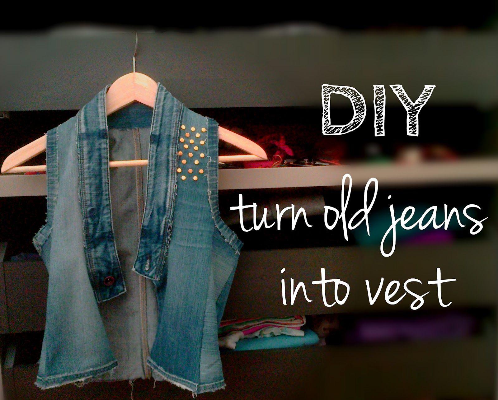 DIY turn old jeans into vest