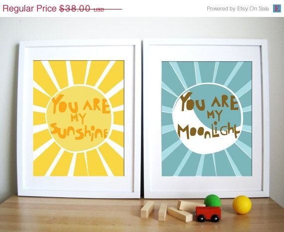 Modern Nursery Art Print Sunshine and Moonlight by UrbanTickle | Art ...