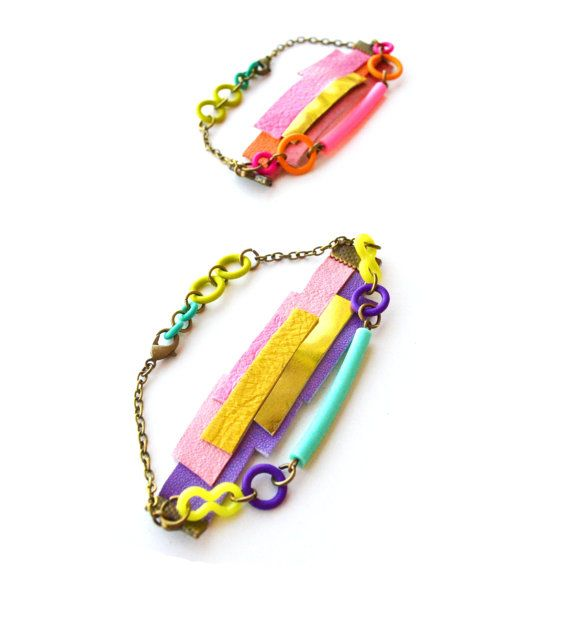 Neon Bracelet Geometric Leather Wrap and by BooandBooFactory, $34.00