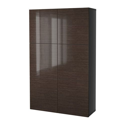 best storage combination with doors black brown selsviken high gloss brown furniture. Black Bedroom Furniture Sets. Home Design Ideas