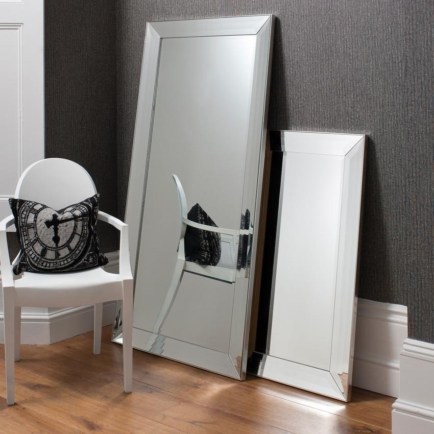 Wall Leaning Mirrors 165cm x 79cm modena frameless bevelled wall/leaning mirror