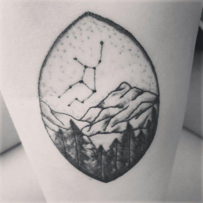 Virgo Zodiac Tattoo Mountains Stars Trees Earth Arm Tattoo