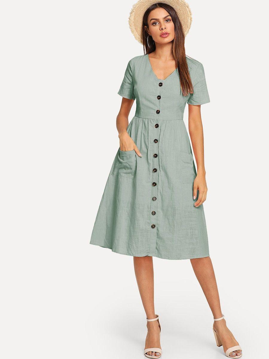 3164c658031 Button   Pocket Up Striped Dress -SheIn(Sheinside)