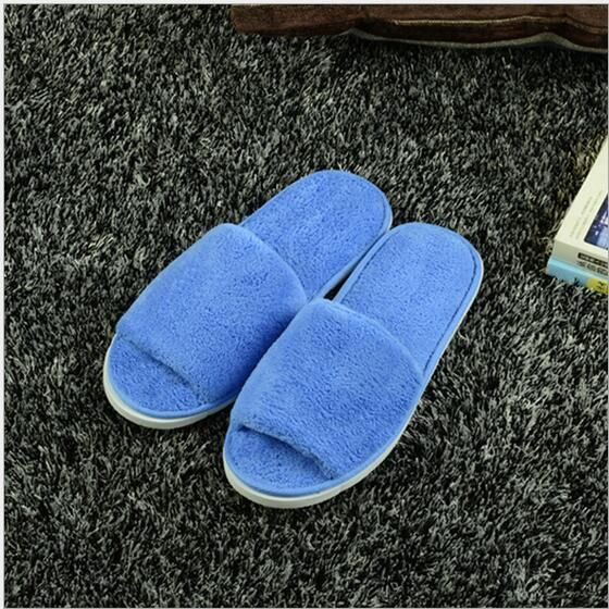 a7785543229a2 New Women Men Open Toe Winter Slippers Warm Slippers Coral velvet House  Indoor Shoes