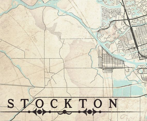STOCKTON Canvas Print CA California Vintage map Stockton City