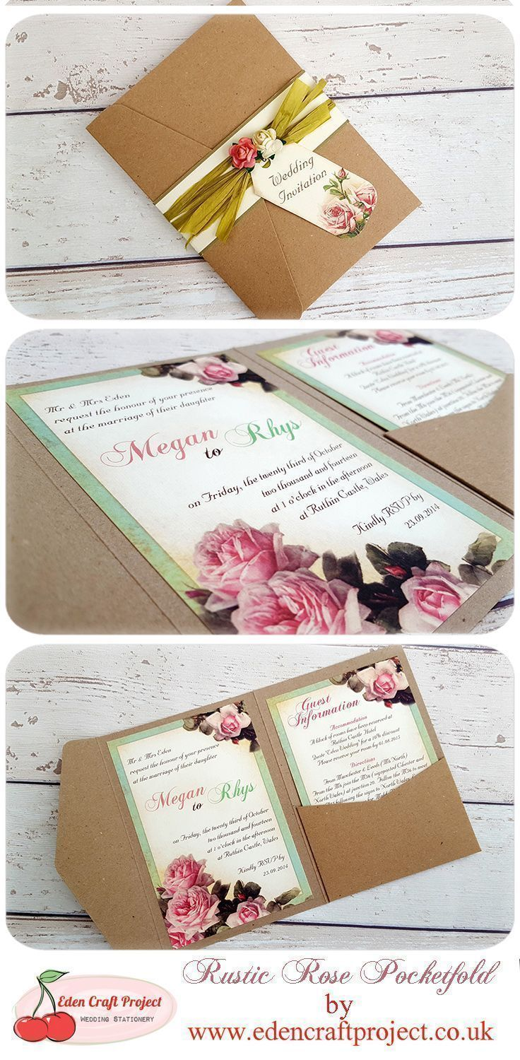 Vintage Rose Wedding Invitation, Perfect for Vintage, Shabby chic ...