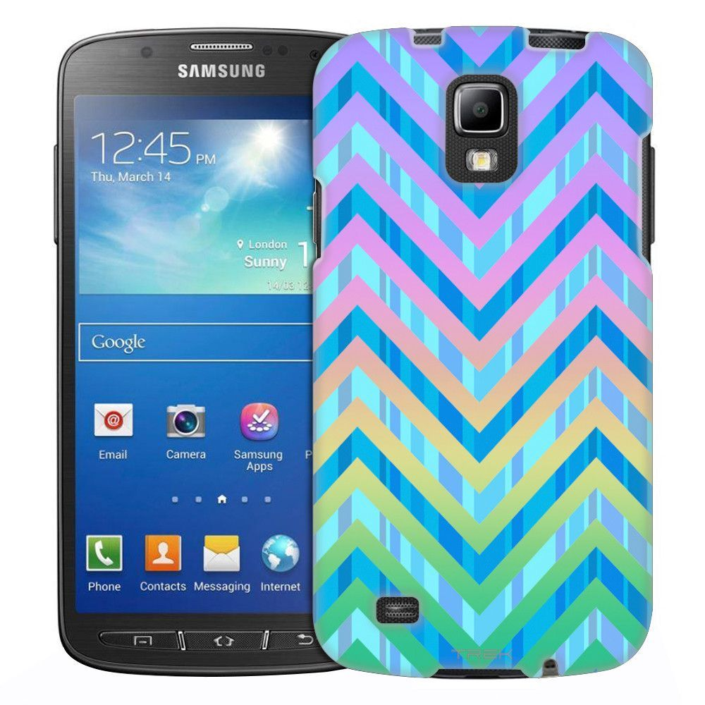Samsung Galaxy S4 Active Blue Striped Chevrons Black Slim Case