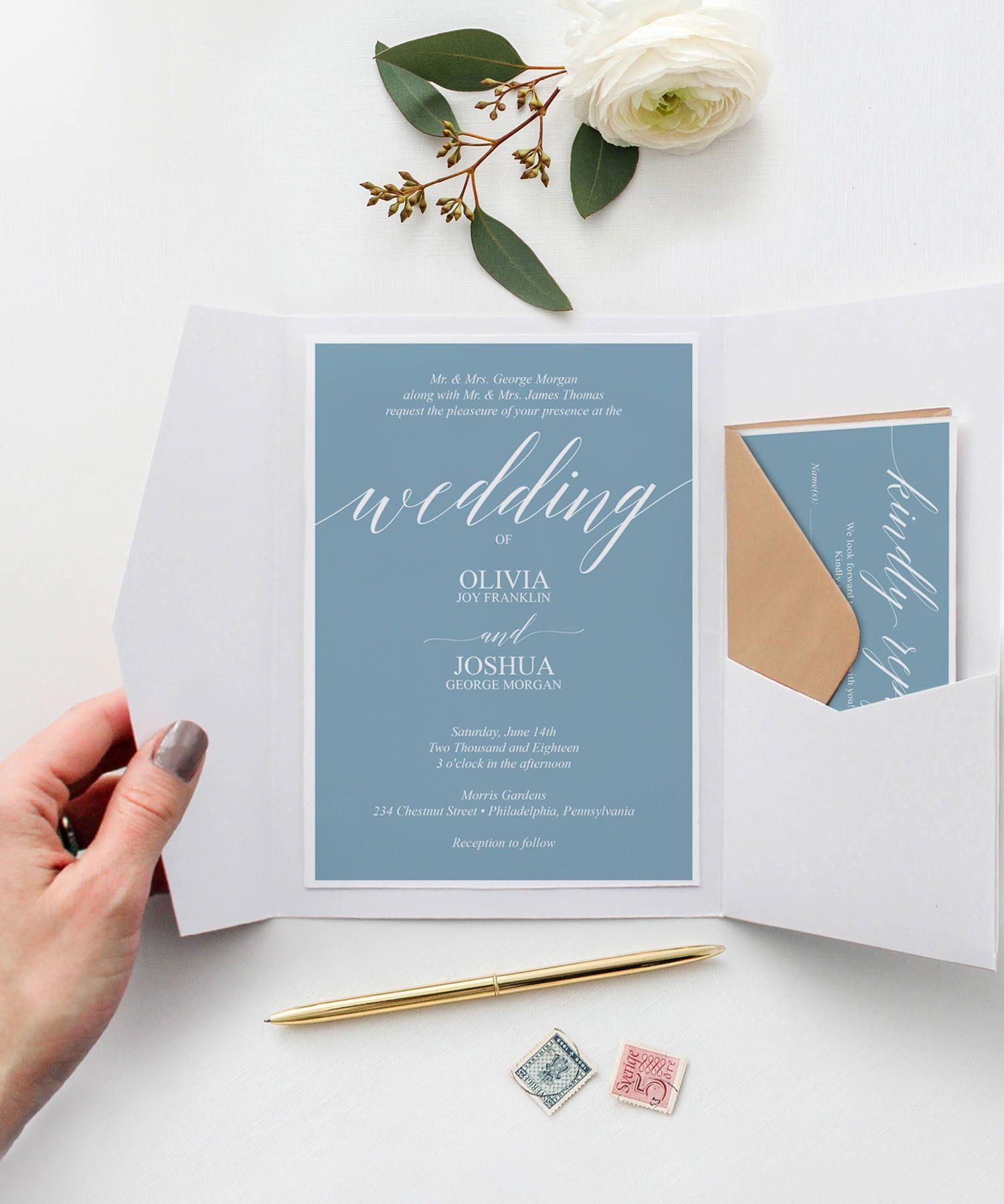 Dusty Blue Wedding Invitation Template - Wedding Invite - Wedding ...
