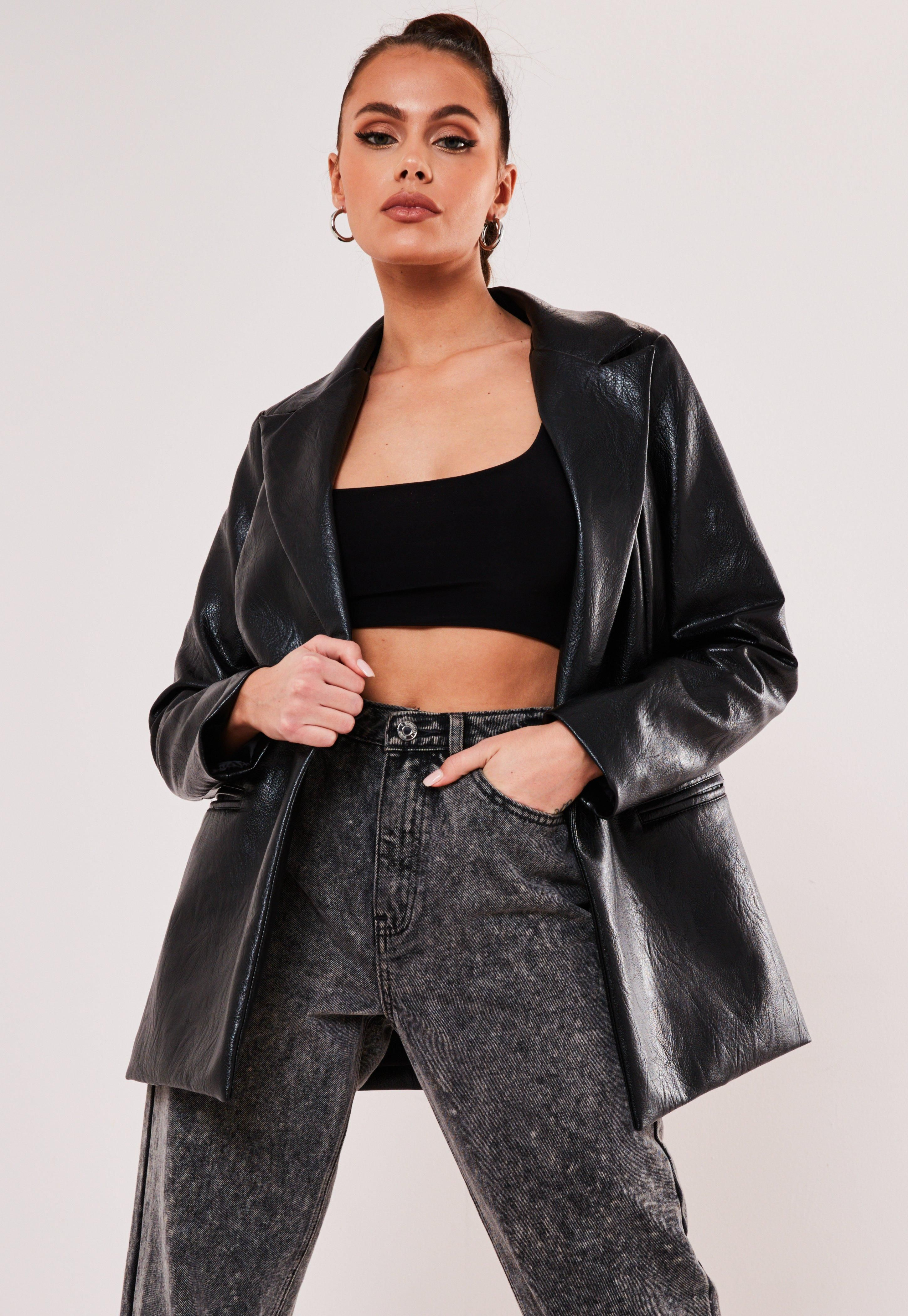Black Faux Leather Oversized Masculine Blazer Sponsored Leather Aff Faux Black Leather Blazer Women Black Leather Blazer Cute Leather Jackets [ 4200 x 2900 Pixel ]