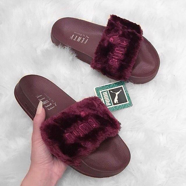 new style 4ec29 58eaa Burgundy puma slides @KortenStEiN | Ur feet look good ...