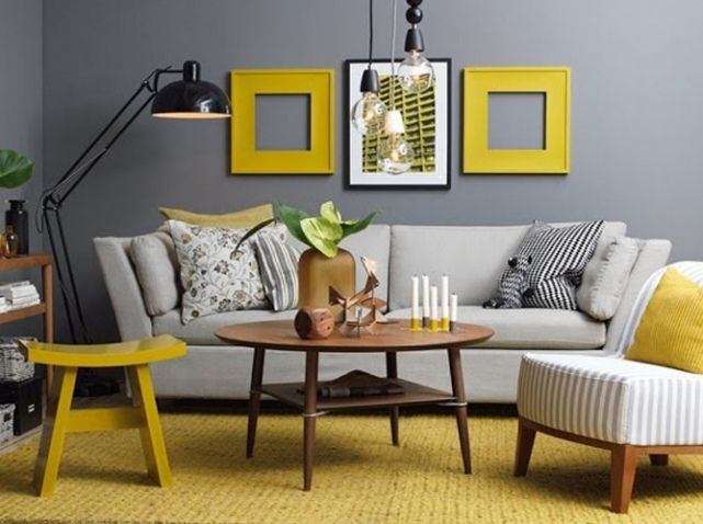 Le Jaune Moutarde Pimente Notre Interieur Elle Decoration Grey And Yellow Living Room Yellow Living Room Living Room Grey