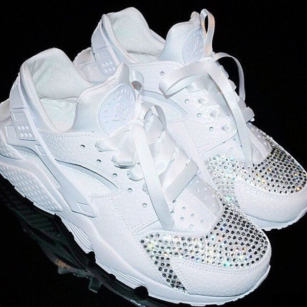 Nike Huarache with diamante crystals custom. ($297) ❤ liked on Polyvore  featuring accessories
