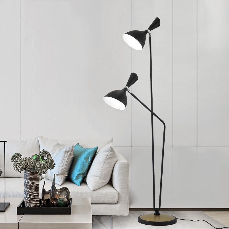 Modern Style 2 Light Dual Head Floor Lamp In Black Floor Lamp Lamp Modern Style