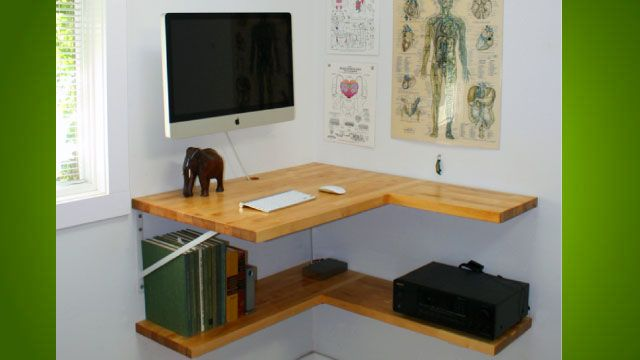 The Floating Corner Desk Floating Corner Desk Diy Corner Desk Small Corner Desk