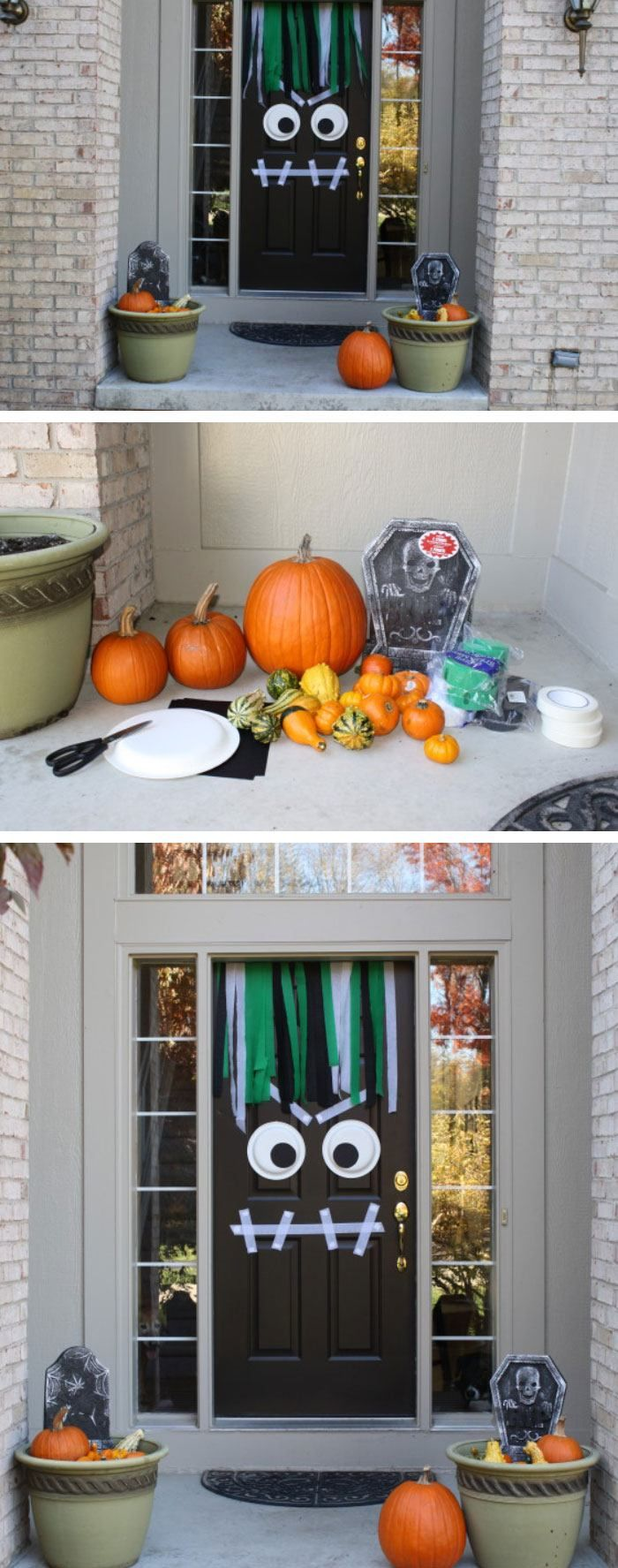 68 Halloween Party Decorations DIY Ideas For Kids on a Budget - Front Door Halloween Decorations