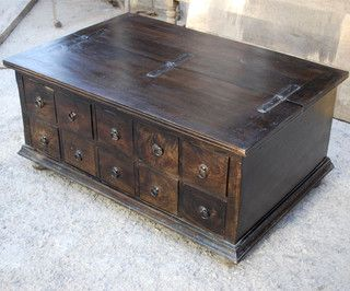 Santa Cruz Mission Pillbox Storage Trunk Coffee Table Contemporary Tables Austin