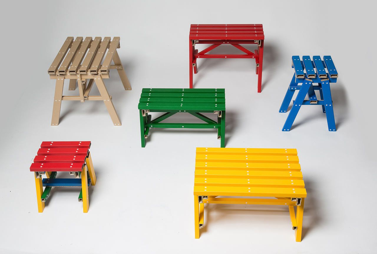 Basic Cardboard Becomes Self-Assembled Side Tables by designstudio PESI | Netfloor USA