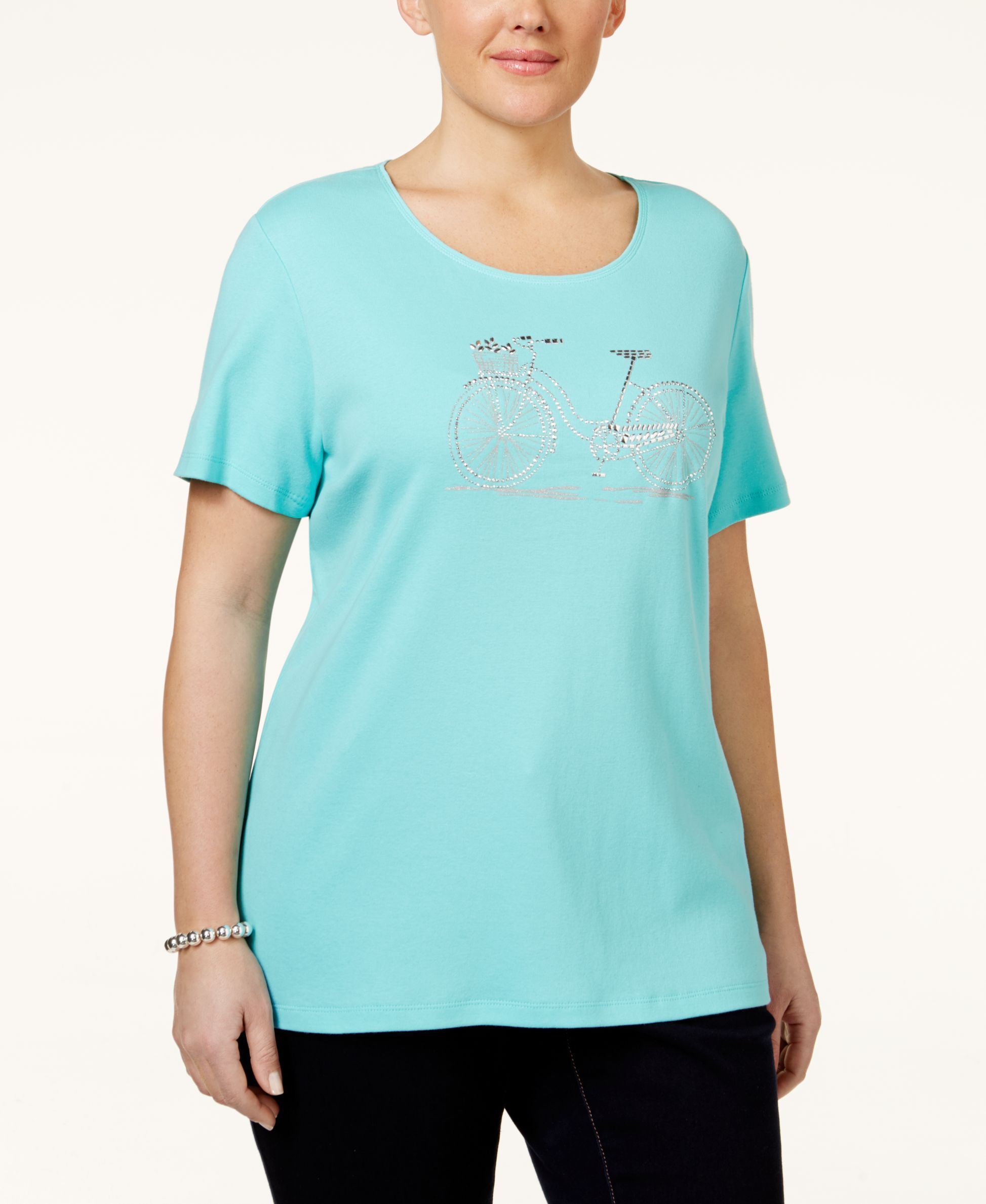 Karen Scott Plus Size Embellished Graphic T-Shirt, Only at Macy's