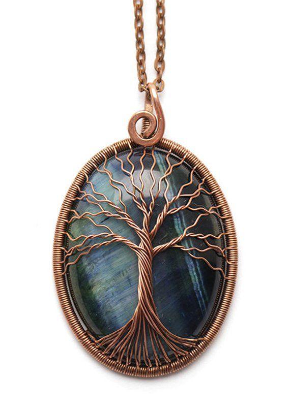 Blue tigers eye necklace Tigers eye pendant Healing stones Tree-of ...