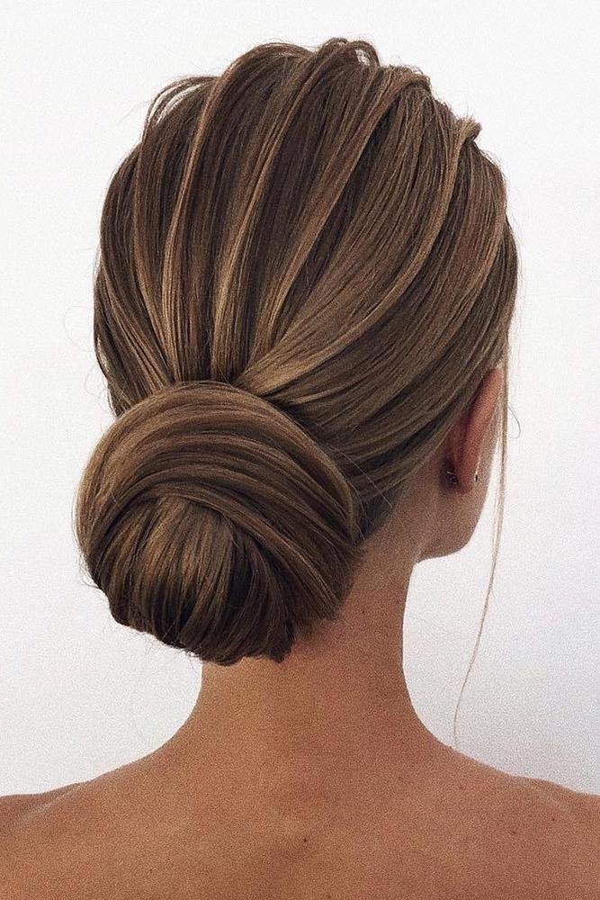 30 Wedding Bun Hairstyles ❤ wedding bun hairstyles textured elegant low bun ok...