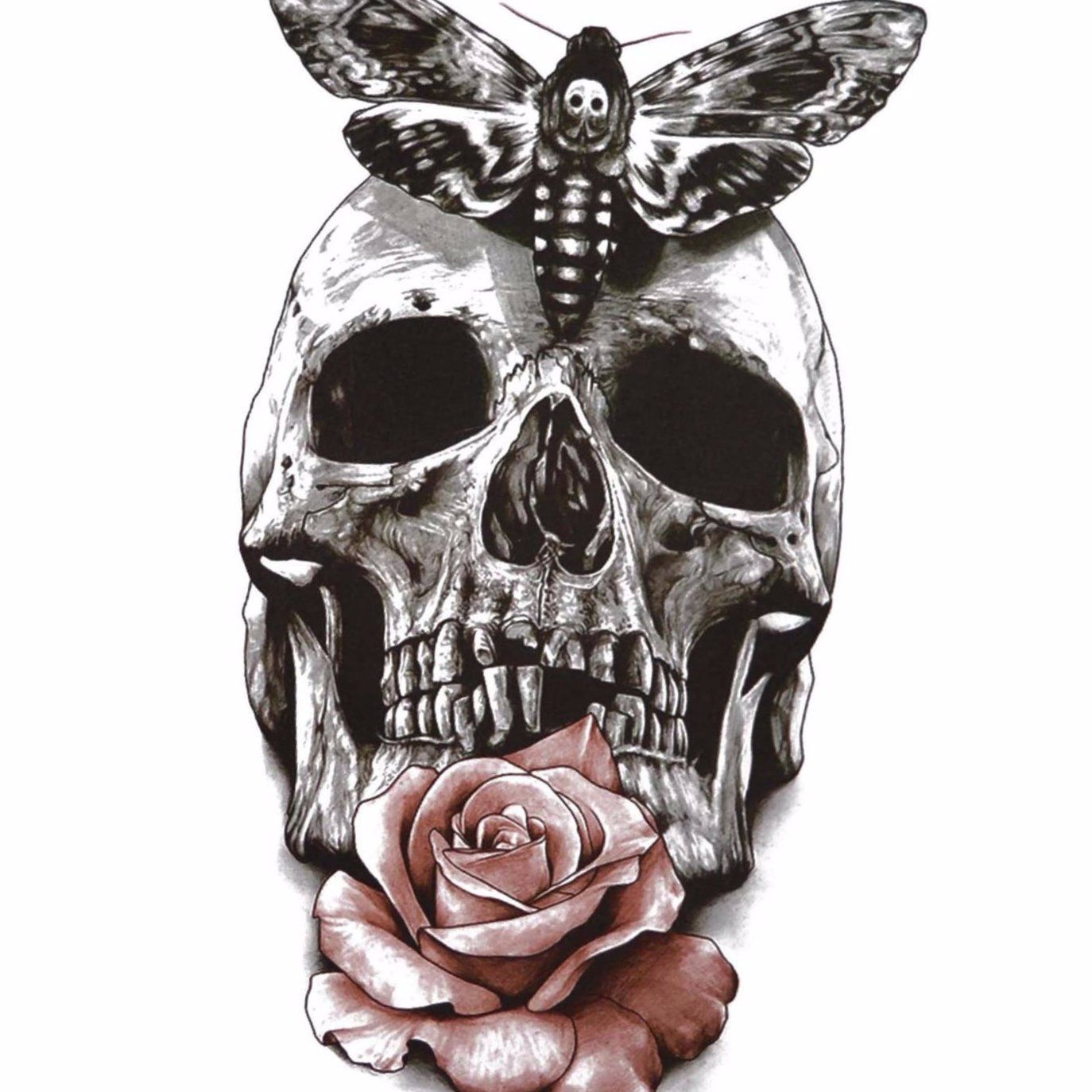 dfb88ab0dd76d Large Skull Rose Temporary Tattoo | Products | Tattoos, Skull ...