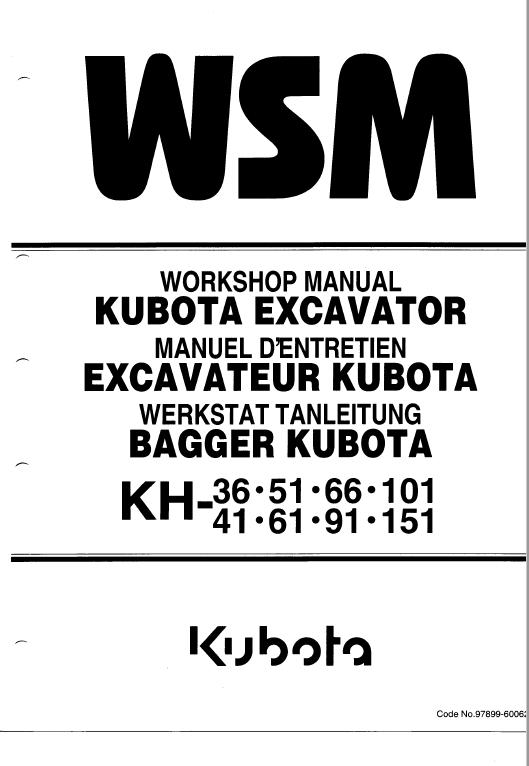 Kubota Kh36 Kh41 Kh51 Kh61 Excavator Workshop Manual Excavator Kubota Kubota Excavator
