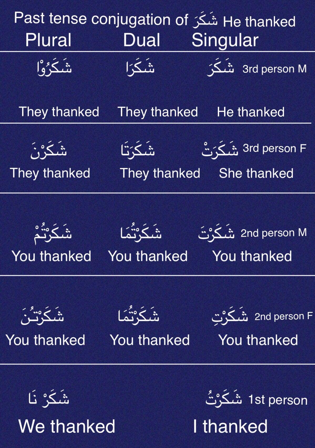 Arabic Past Tense Conjugation ش ك ر Arabic Language Arabic Verbs Learn Arabic Online [ 1703 x 1199 Pixel ]