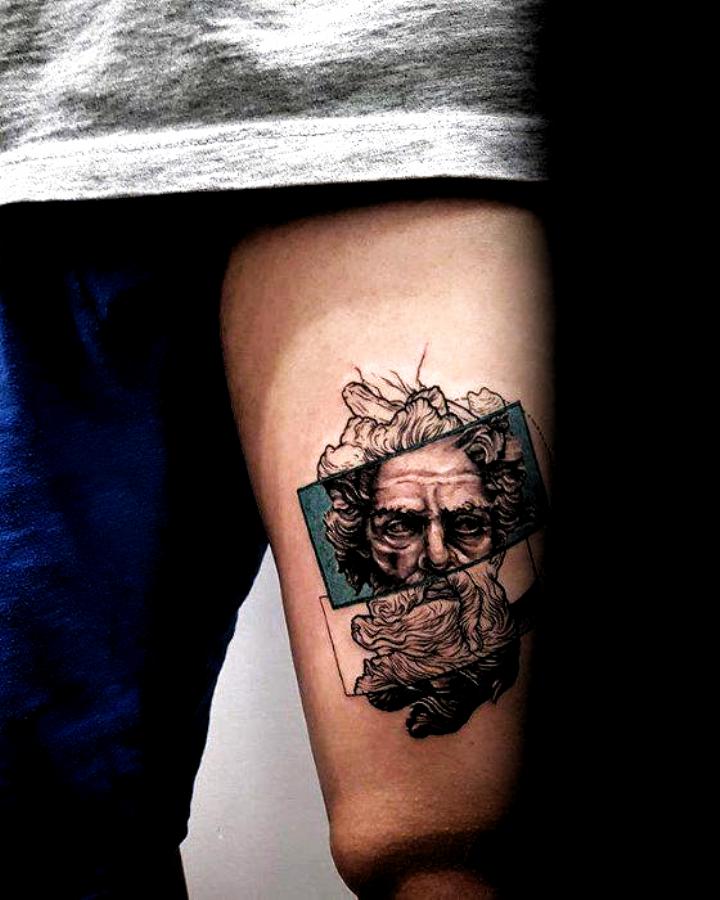 Greek God Coolest Guys Small Thigh Tattoo Design Ideas In 2020 Small Thigh Tattoos Small Tattoos For Guys Thigh Tattoo Designs