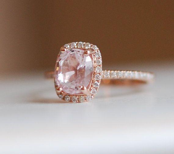 1.73ct Cushion peach champagne sapphire in 14k rose gold diamond ...
