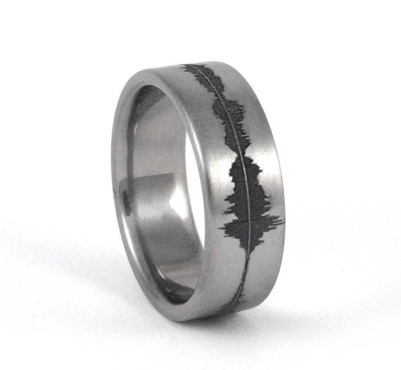 Custom Anium Soundwave Ring Geek Wedding Band For Him Personalized Rings Unique Sound