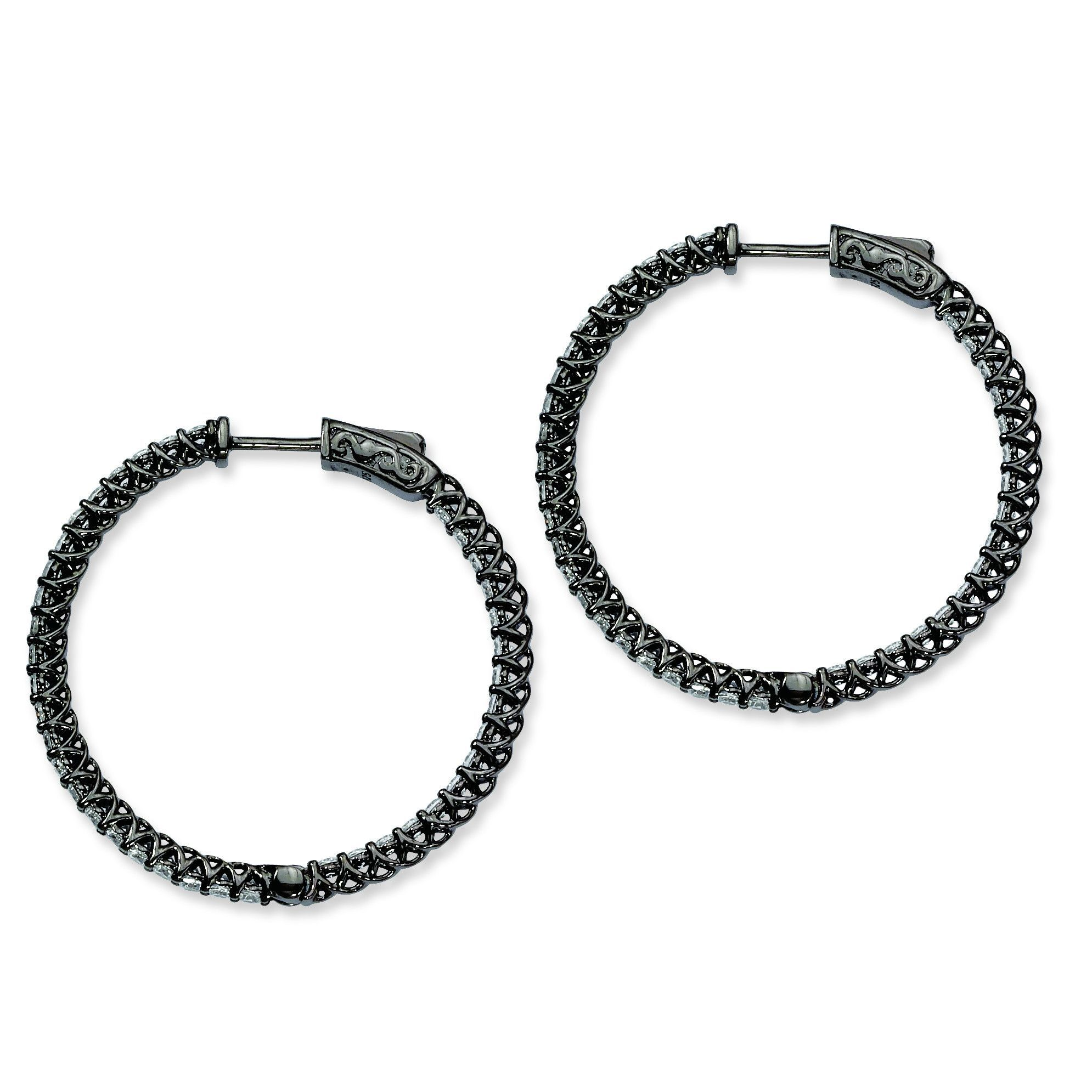 Sterling Silver Ruthenium-plated CZ In and Out Hinged Hoop Earrings