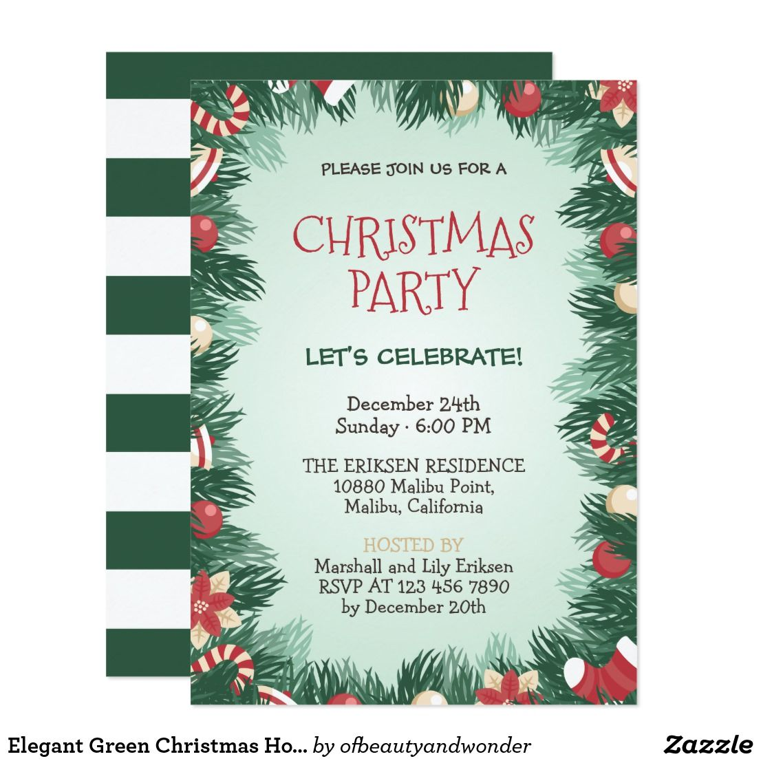 Elegant Green Christmas Holiday Party Invitation