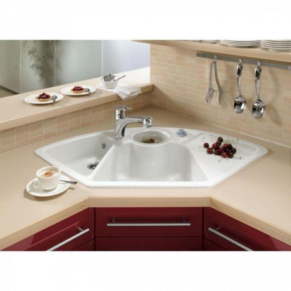 White Kitchen Design Ideas With Cabinets And Corner Design Wash ...