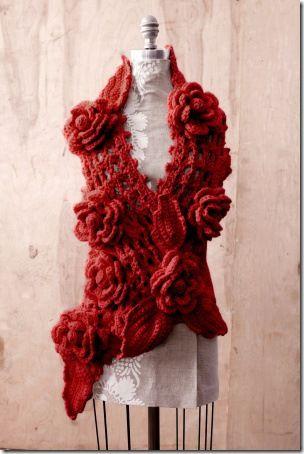 Scarlet Crochet Scarf :: a la Anthropologie | Jealous, Free crochet ...
