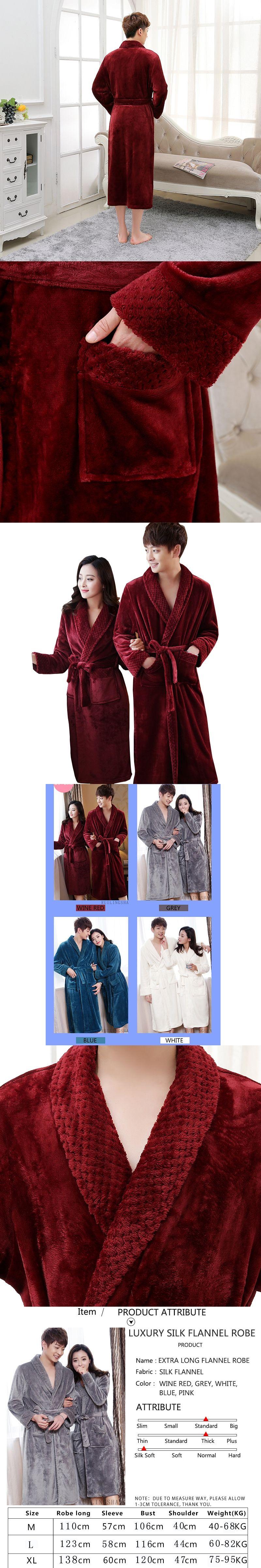 On Sale Men\'s Extra Long Soft as Silk Flannel Bathrobe Men Winter ...