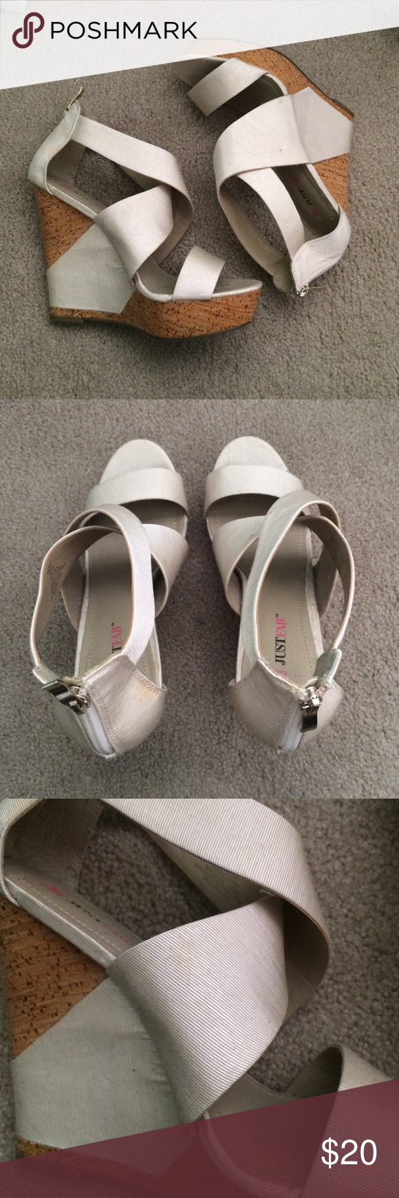 "Cream Wedge Sandals Cream colored straps with approx. 5"" heel with approx. 1.5"" platform. Pretty comfy even after wearing a long time. JustFab Shoes Wedges"