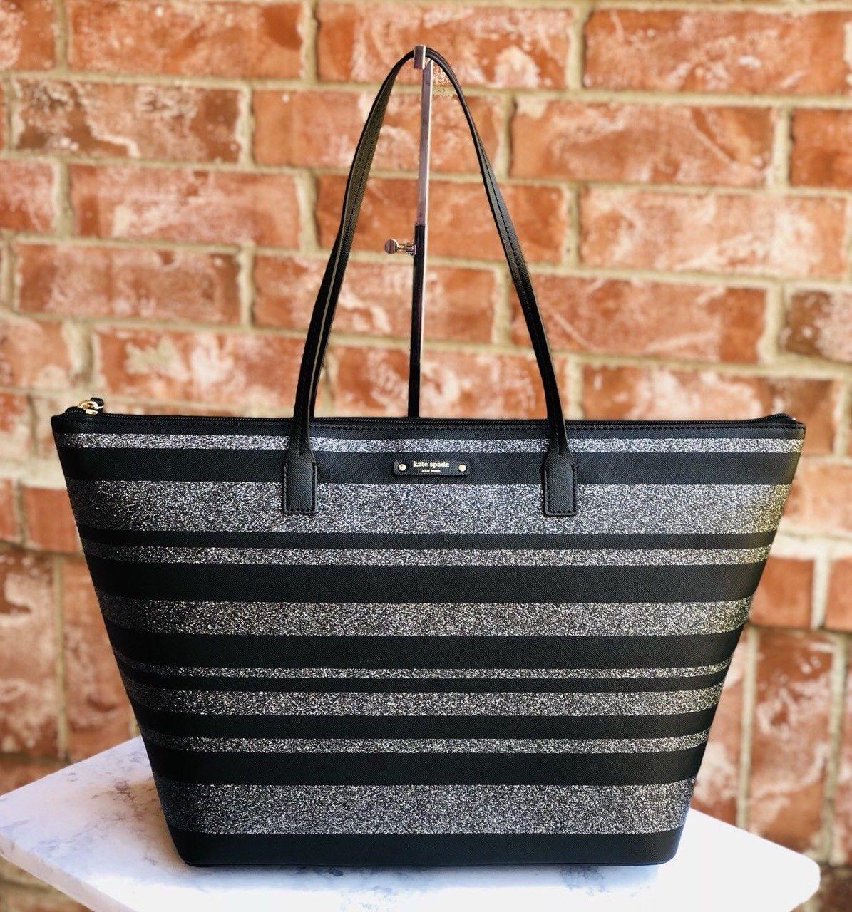 119 99 New Kate Spade Hani Haven Lane Large Tote Bag Black Glitter Stripe Handbag