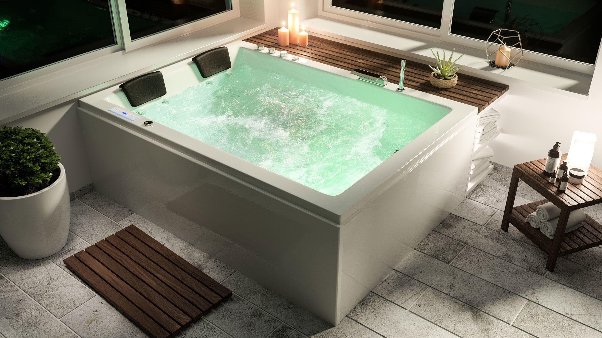 Andalusia Universal Premium Whirlpool Links 180x130x62 Cm Whirlpool Whirlpool Badewanne Pool Liegen