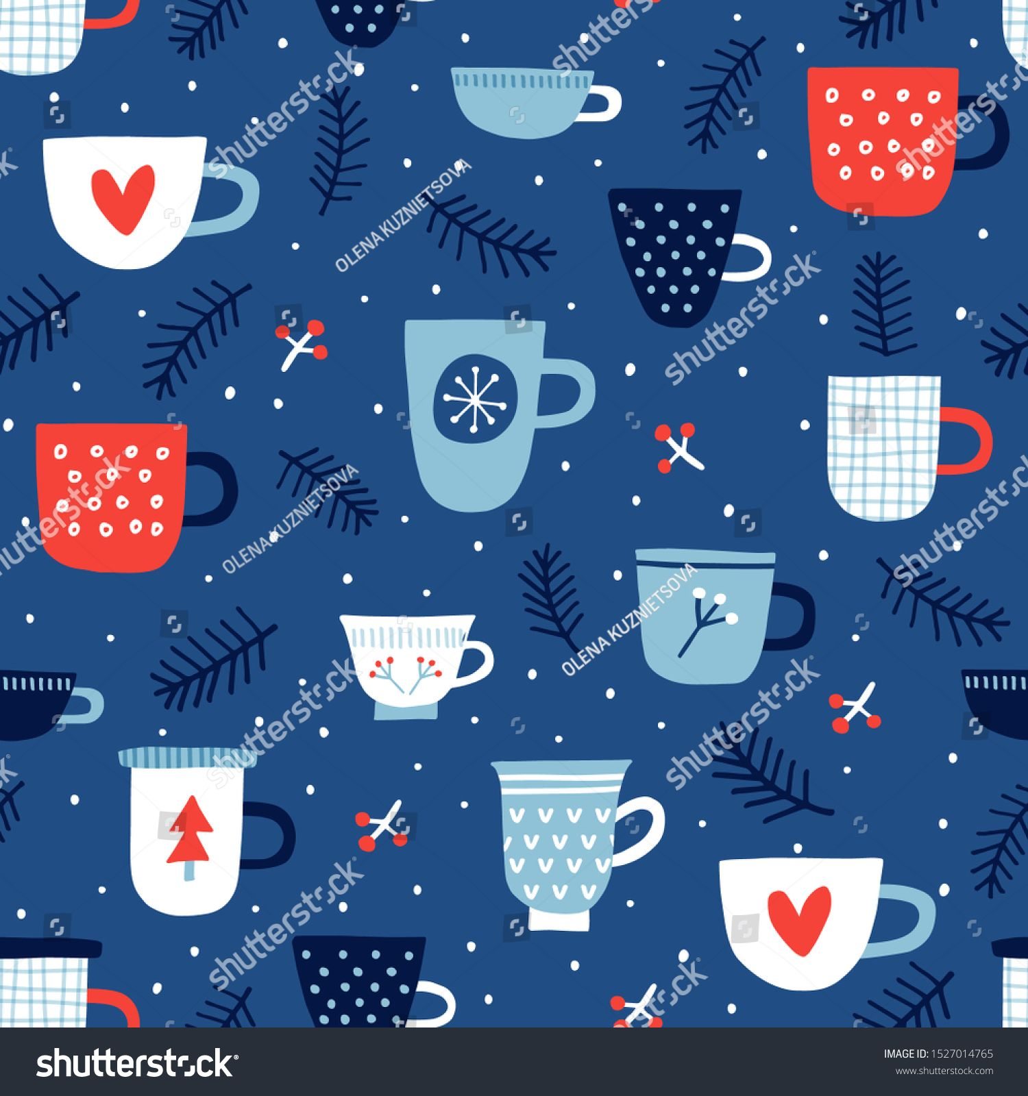 Seamless vector pattern with Christmas mugs Can be used for wallpaper pattern fills web page background surface textures gifts Creative Hand Drawn textures for winter hol...