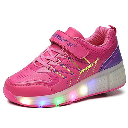 VMATE PU Pink Boy Girl LED Light Up Roller Wheel Skate Sneaker Sport Shoes Dance Boot *** Learn more by visiting the image link. Note: It's an affiliate link to Amazon