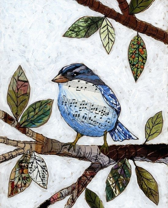 Songbird Collaged bird art  8 x 10 Glossy print by AnimalHouseArt, $20.00